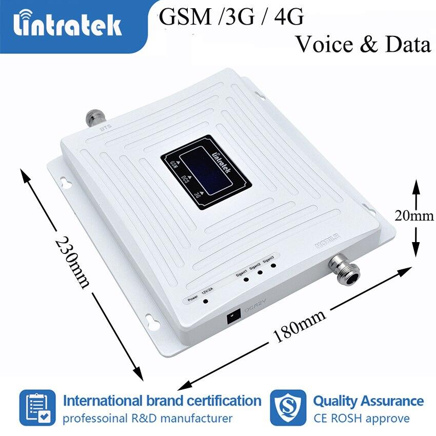 Lintratek 2G 3G 4G Tri bande amplificateur de Signal de téléphone portable GSM W-CDMA LTE 900 1800 2100 mhz amplificateur répétiteur Kit complet S50 - 3