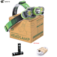 USB Rechargeable Head Lamp frontal 10000Lm XM-L L2+2LED Headlamp 18650 Head Flashlight Torch Fishing Camping Hunting light