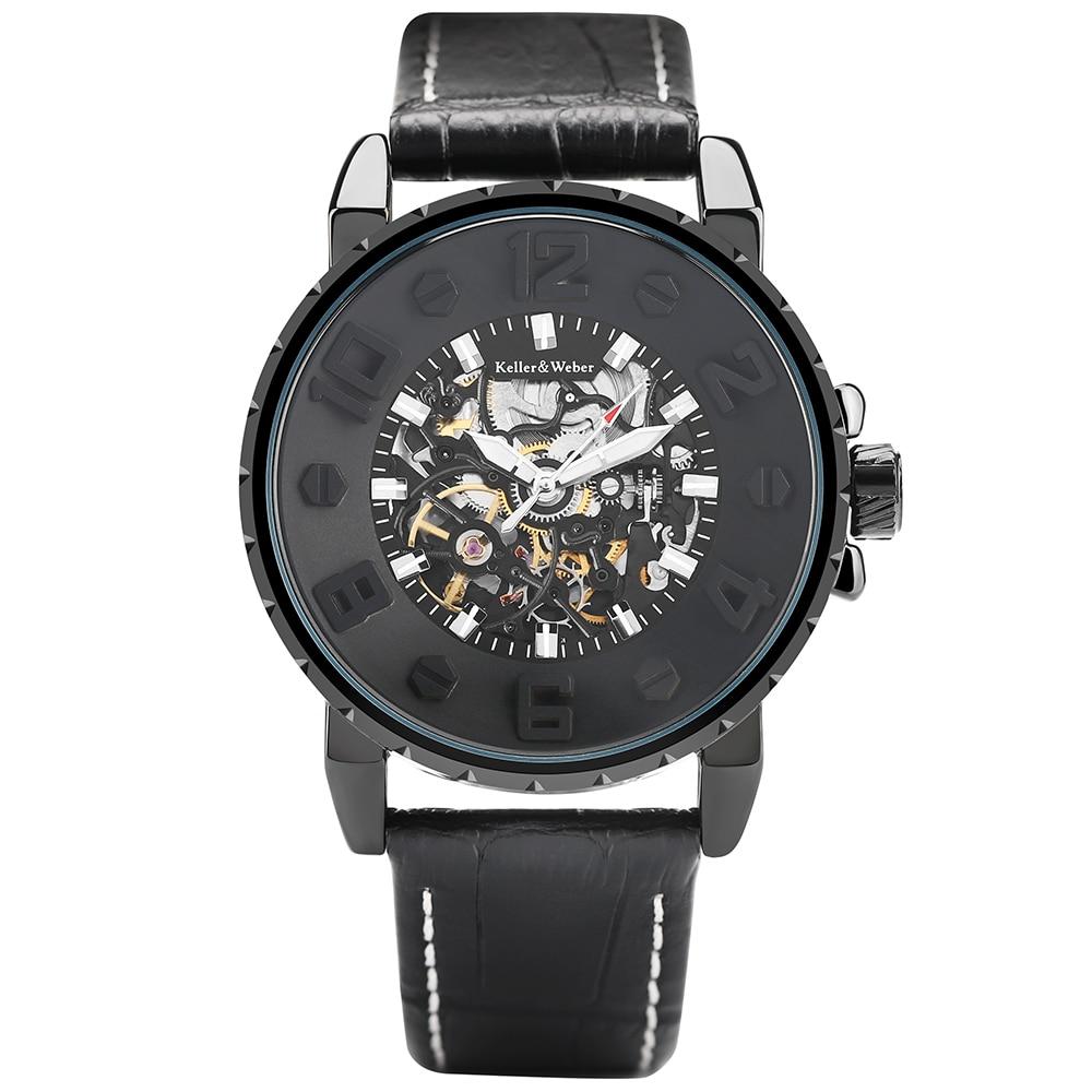 Keller & Weber Pilot Military Automatic Machanical Wrist Watch Men's Water Resistant Business Creative Watches Cool Male Clock keller
