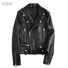 Woman Coat 2019 Fashion Sheepskin Leather Female Jackets Motorcycle Clothing  Real Short Ladies Gules