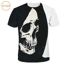 ISTider New Summer Tops Big Skull Face Printed 3D T Shirts Short Sleeve  Polyester Spandex Black White Casual T-Shirts Men Women cb1abc06f993