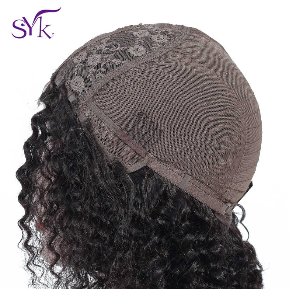 """SYK глубокая волна короткие человеческие волосы Кружева Закрытие парик 8 """"-14"""" Средний Размер 4 × 1 размер 130% плотность кружева передние парики не перуанские волосы с неповрежденной кутикулой"""