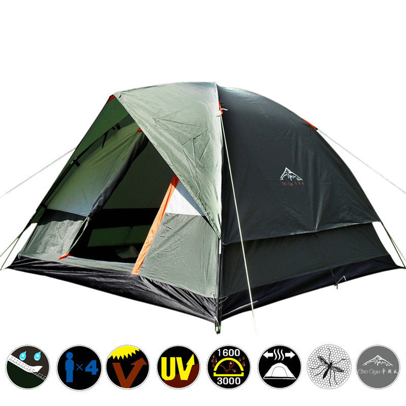 3 4 Person Double Layer Camping Tent with Mosquito Net Portable Outdoor Fishing Hiking Tent 200x200x130cm