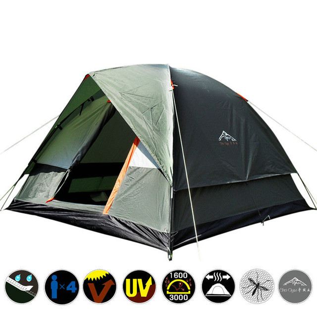 3-4 Person Double Layer Camping Tent with Mosquito Net Portable Outdoor Fishing Hiking Tent 200x200x130cm Russian Local Delivery