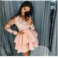 Elegant 2019 Cocktail Dresses A line V neck Long Sleeves Lace Tiered Short Mini Party Homecoming Dresses