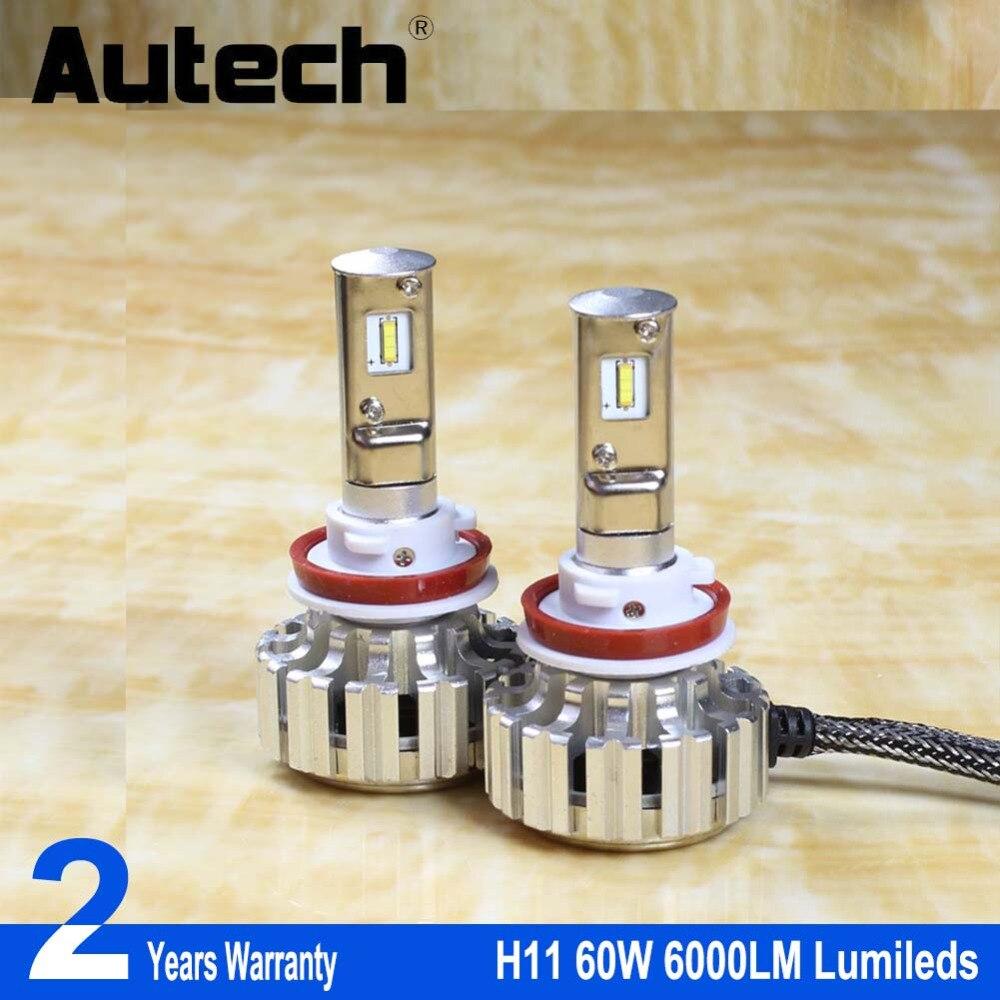 Autech 2 Pieces CSP Chip Super Bright Car Headlights H11 H8 H9 60W 6000LM Auto Front Bulb Automobile Headlamp 6000K Car Lighting