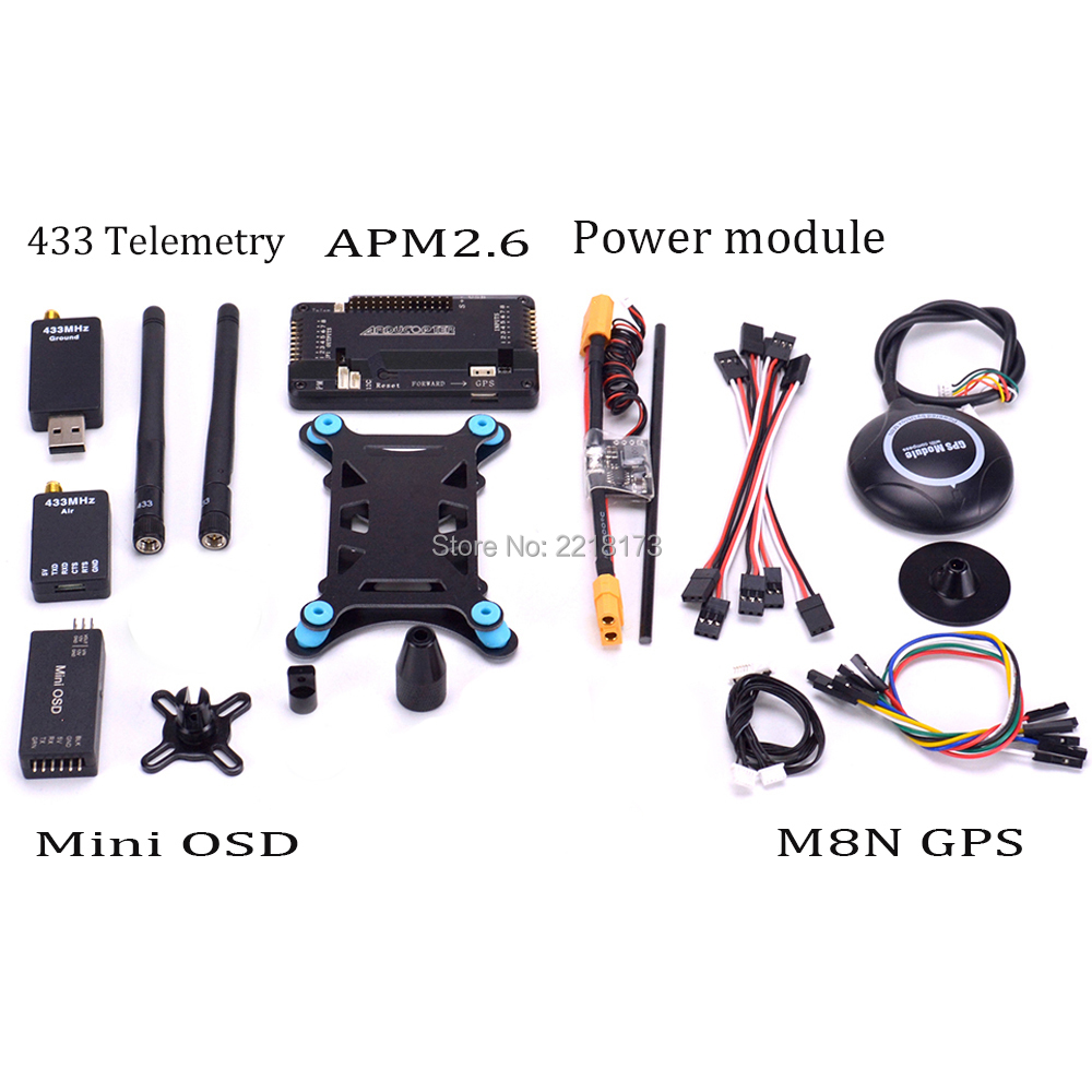 APM 2.6 ArduPilot Mega APM2.6 Flight Control Board & M8N 8N GPS with compass GPS Holder & Power Module & Mini OSD 433 telemetry apm apm2 8 flight controller board minim osd neo m8n 8n 7m gps w stand holder power module for rc quadcopter multicopter
