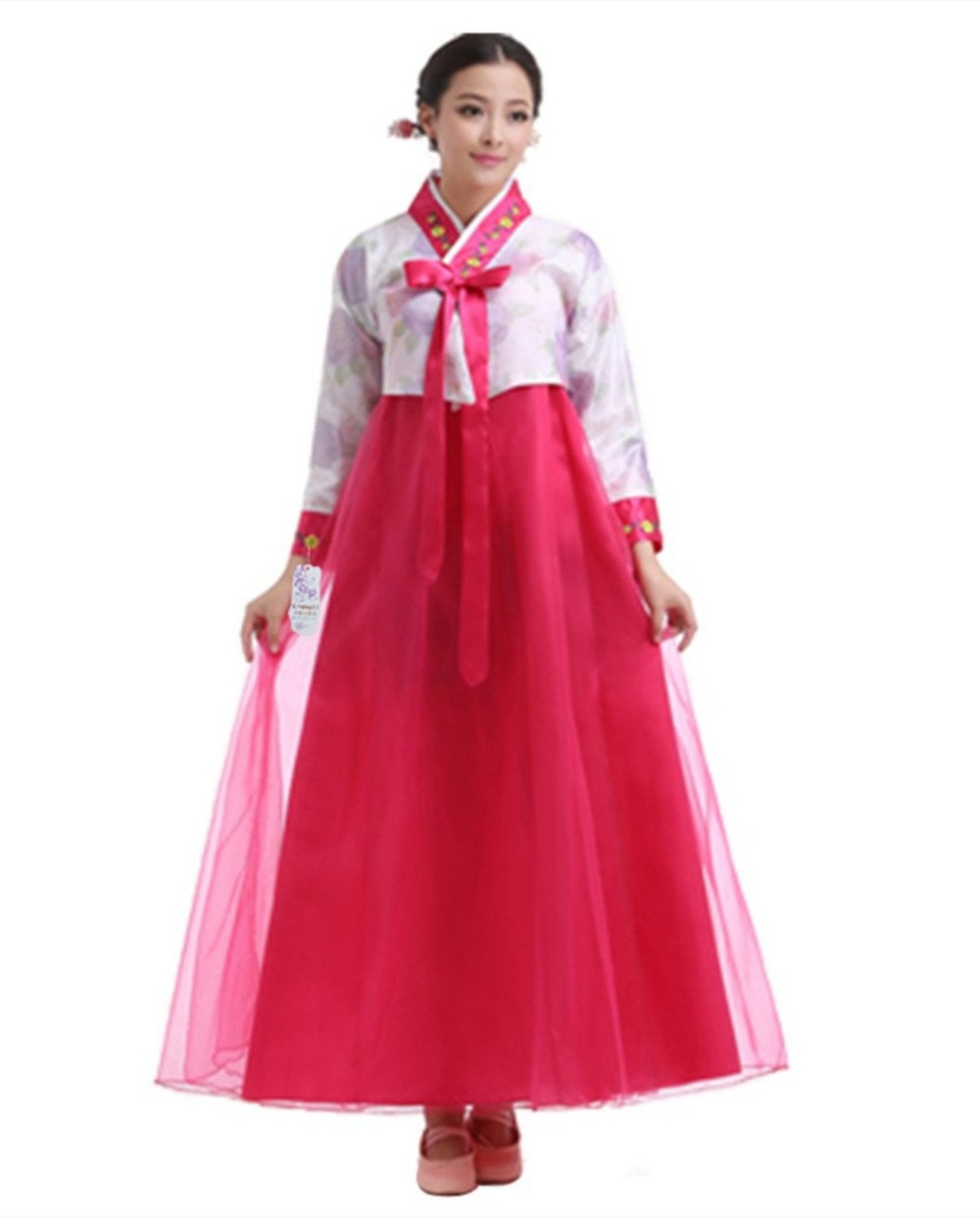 Unique 2016 Korean National Costume Short Sleeve Lady Court Minority Clothing