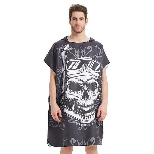 Black Graffiti Towel Women Man Bathrobe /Changing Robe Bath Towel Outdoor Hooded Beach Towel Poncho Bathrobe Swimsuit