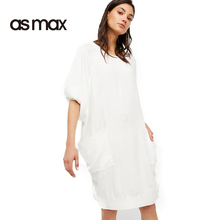 asmax 2017 Basic Women Shirt Blouse Short Sleeve O-neck Brief Female Dress Ladies Casual Loose Solid Color Pockets Ladies Dress