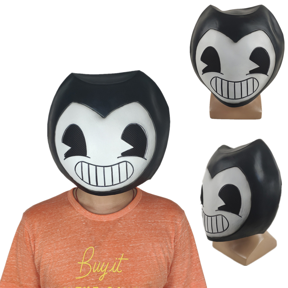 Game Bendy Mask Cosplay Costume Prop Halloween Party Latex Masks Helmet