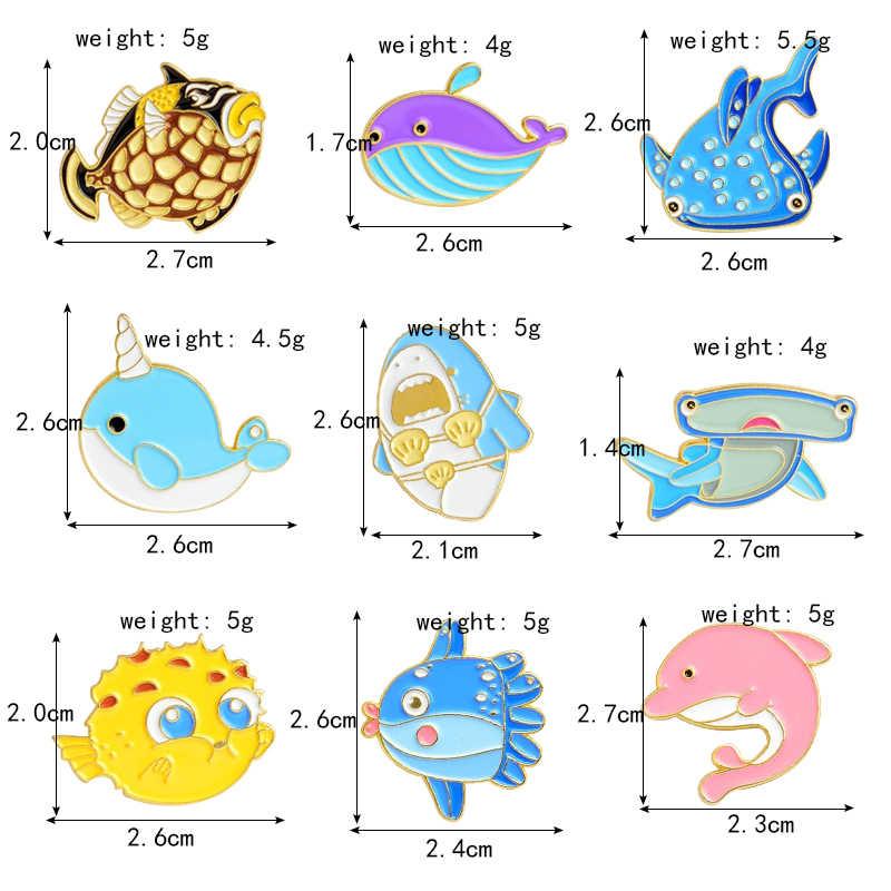 Ocean World Vis Broche Cartoon Mariene Leven Leuke Dolfijn Octopus Walvis Bubble Vis Emaille Pin Shirt Badge Kids Fantasie Sieraden