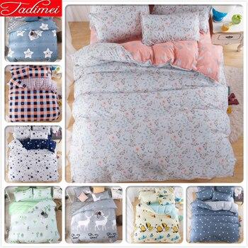 Flower Pattern Quilt Comforter Duvet Cover 3/4 pcs Bedding Set Adult Kids Child Soft Bed Linens Single Twin Full Queen King Size
