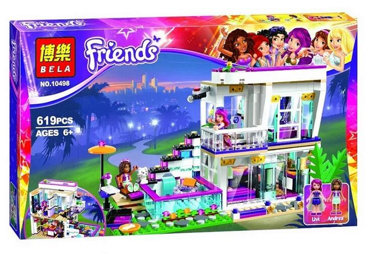 Bela 10498 Friends Series Livi s Pop Star House Building Blocks Andrea mini doll figures Toy