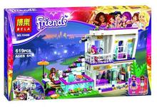 Bela 10498 Friends Series Livi's Pop Star House Building Blocks Andrea mini-doll figures Toy Compatible with Legoe Friends 41135