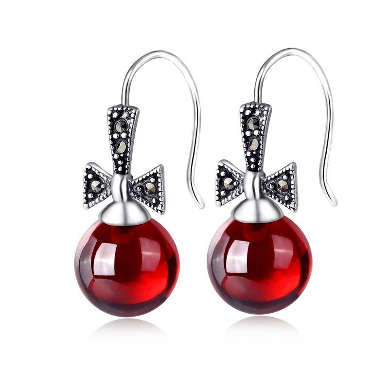 Xin Rui bijoux 925 en argent Sterling boucles d'oreilles en argent grenat boucles d'oreilles oreille crochet arc belle fille