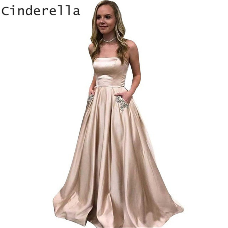 Cinderella Strapless Sleeveless Floor Length A-Line Long Train Crystal Beaded Satin Pleated   Prom     Dresses   Party Gowns For   Prom