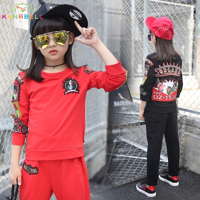 2017 Spring Children  Girl Clothing SetsSports Suit Cotton Sporstwear Graffiti Print Kids High Quality Tracksuits Letter Outfits