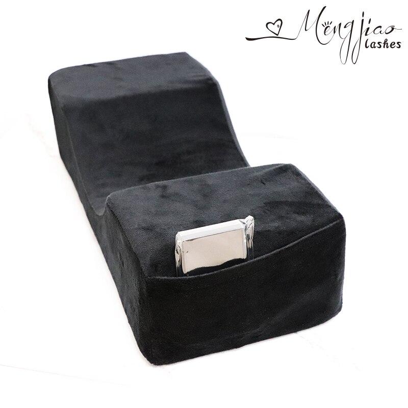 Flanelle et PU oreillers pour le salon de beauté, noir multi-poche oreillers. Oreiller pour greffage sourcils et cils. Confortable