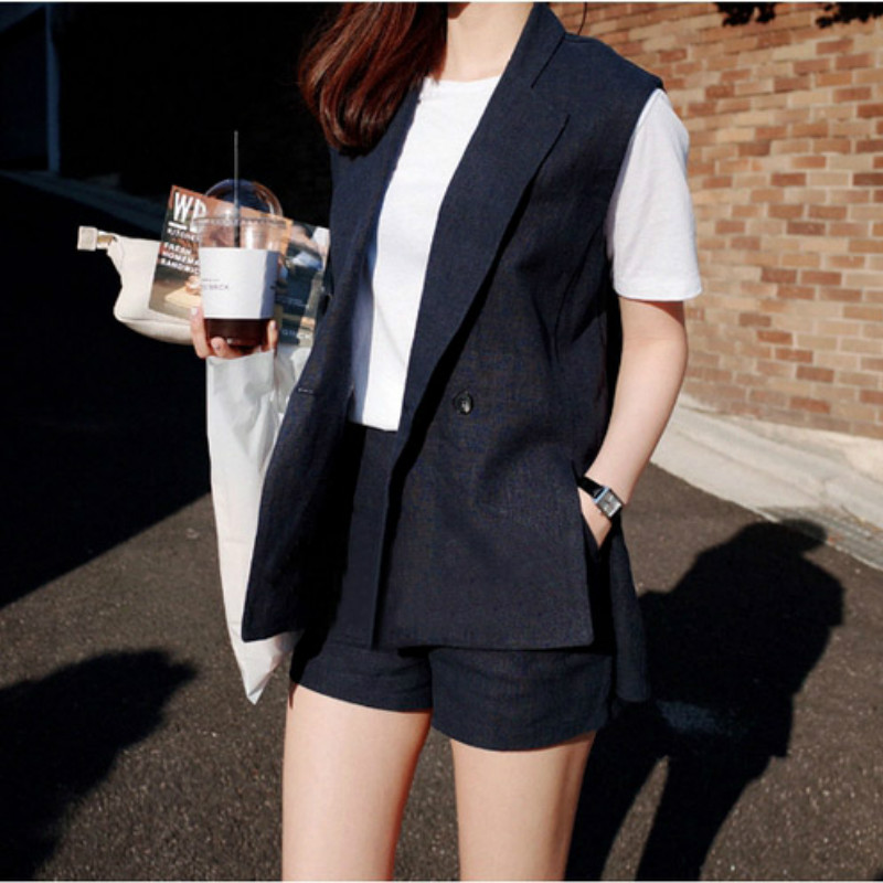 Set female 2018 summer new fashion loose cotton and linen vest suit + shorts casual two-piece thin women's clothing