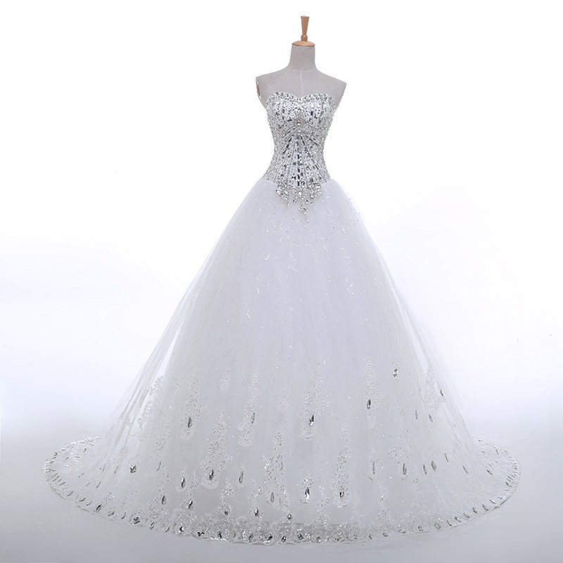 Luxury Crystal Diamond A Line Wedding Gown Sweetheart ...