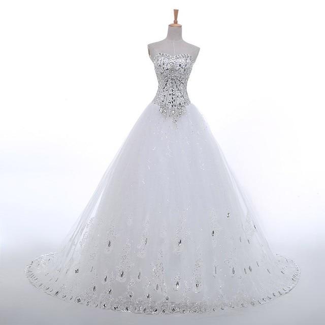 Diamond Wedding Gown: Luxury Crystal Diamond A Line Wedding Gown Sweetheart