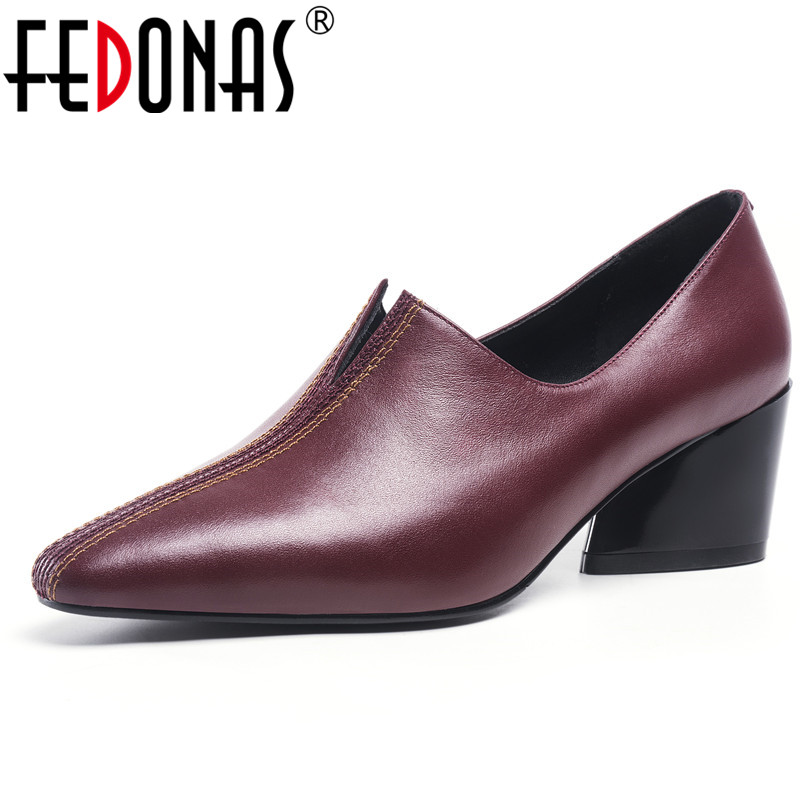 FEDONAS Fashion Sexy Casual Women For Pumps Genuine Leather Square High Heels Spring Summer Casual Working Party Shoes WomanFEDONAS Fashion Sexy Casual Women For Pumps Genuine Leather Square High Heels Spring Summer Casual Working Party Shoes Woman
