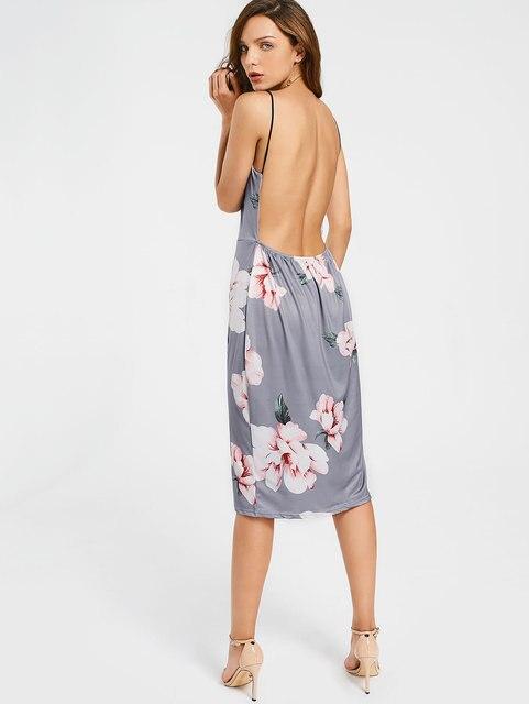 33de974b41 Gamiss Bodycon Party Dress Women Grey Floral Sexy Backless Slip Summer  Dresses 2017 Fashion Plunge Neck Elegant Midi Dress. Price