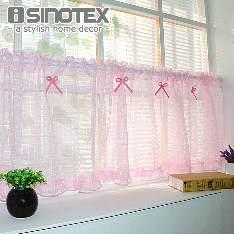 Half Curtain Window Curtain Bowknot Lace Decoration For Kitchen Curtain  Valance Living Room Voile Screening Drape