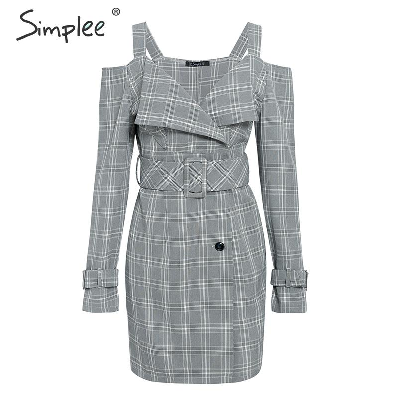 Simplee V-neck plaid sash belt women dress Spaghetti strap button office ladies dress Autumn winter female short party dress 12