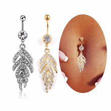 1Pc Silver Gold Sexy Leaf Feather Crystal Dangle Navel Belly Bar Button Rings Metal Piercings for Women Body Jewelry Gift