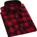 Calidad Primavera Otoño Rojo y negro Plaid Camisas Hombre Gira el Collar abajo Camisas Sport de Manga Larga Barato de China de la Marca-ropa