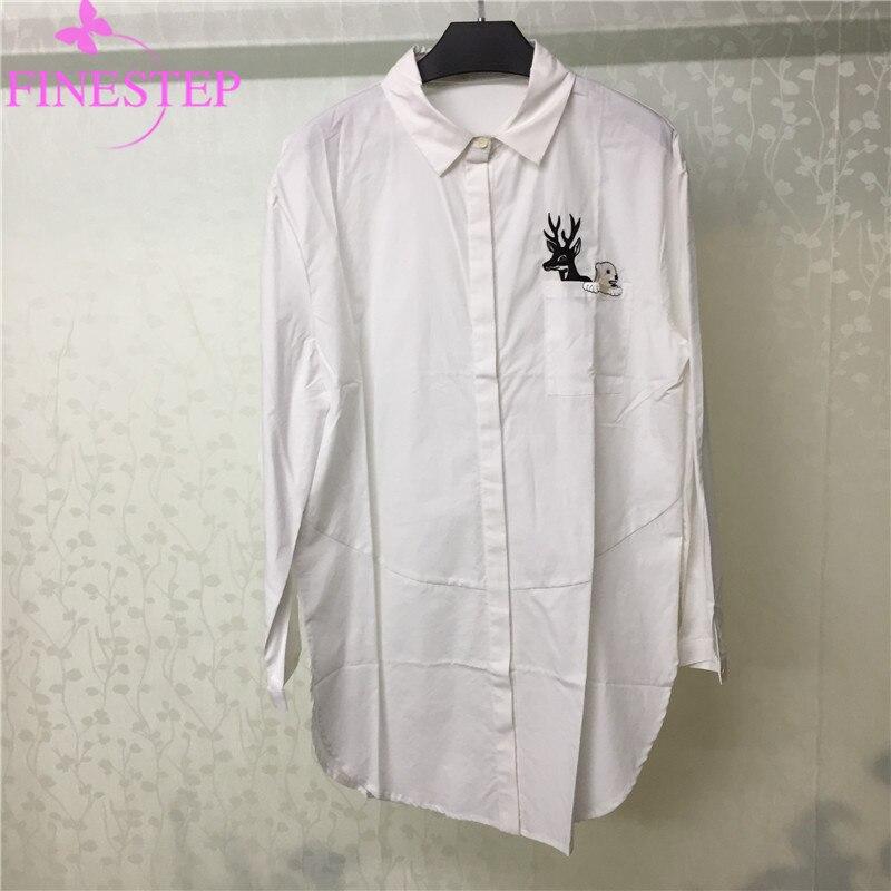 Décontracté coton blanc Blouse femmes mode bureau dame crantée lâche Blouse haute qualité femmes coton Blouse
