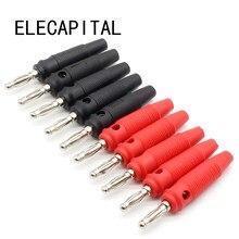 10 pçs/lote vermelho e preto 4mm solderless fio de banana empilhável lateral
