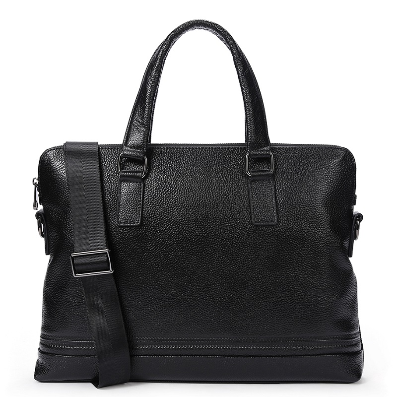 Uniego Genuine Leather Men Briefcase Male Shoulder Bag Laptop Bag High Quality Men Crossbody Messenger Bags Male Handbag HB142 senkey style simple fashion genuine leather men bags high quality men s crossbody bag male casual handbag shoulder messenger bag