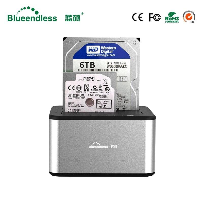 Nouvelle lecture vitesses double bay hdd sata station d'accueil usb 3.0 disque dur externe cas haute qualité hdd 2.5 En Aluminium hdd dock boîte