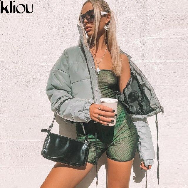 Kliou 2018 winter women fashion Reflector Cotton-padded jacket high waist zipper fly pockets female casual thick warm clothing