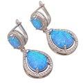 Amazing!Luxury design Excellent Blue Fire Opal Silver Stamped Crystal Earrings women Fashion Jewelry Opal Jewelry OE280A