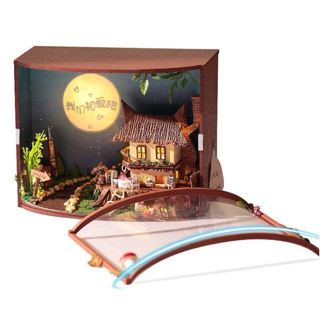 Miniatura de madera Luna bosque cabina Dollhouse kit DIY muñeca casa ...