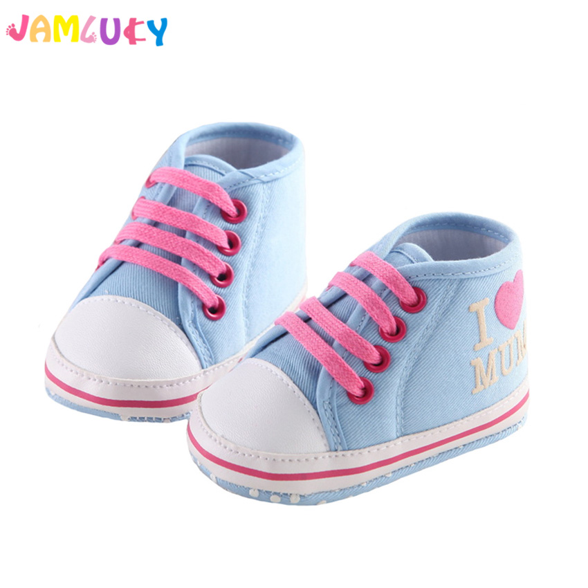 Lovely Baby Shoes Toddler First Walkers Round Toe I Love Mom/Dad Flats Soft Girls Shoes Boys Blue Lace-Up Sneakers Baby Girls