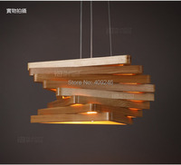 Nordic Modern Antique Solid Wood Triangle Trapezoid Wood Decorative Chandelier Ceiling Light Cafe Bar Restaurant Dining Room