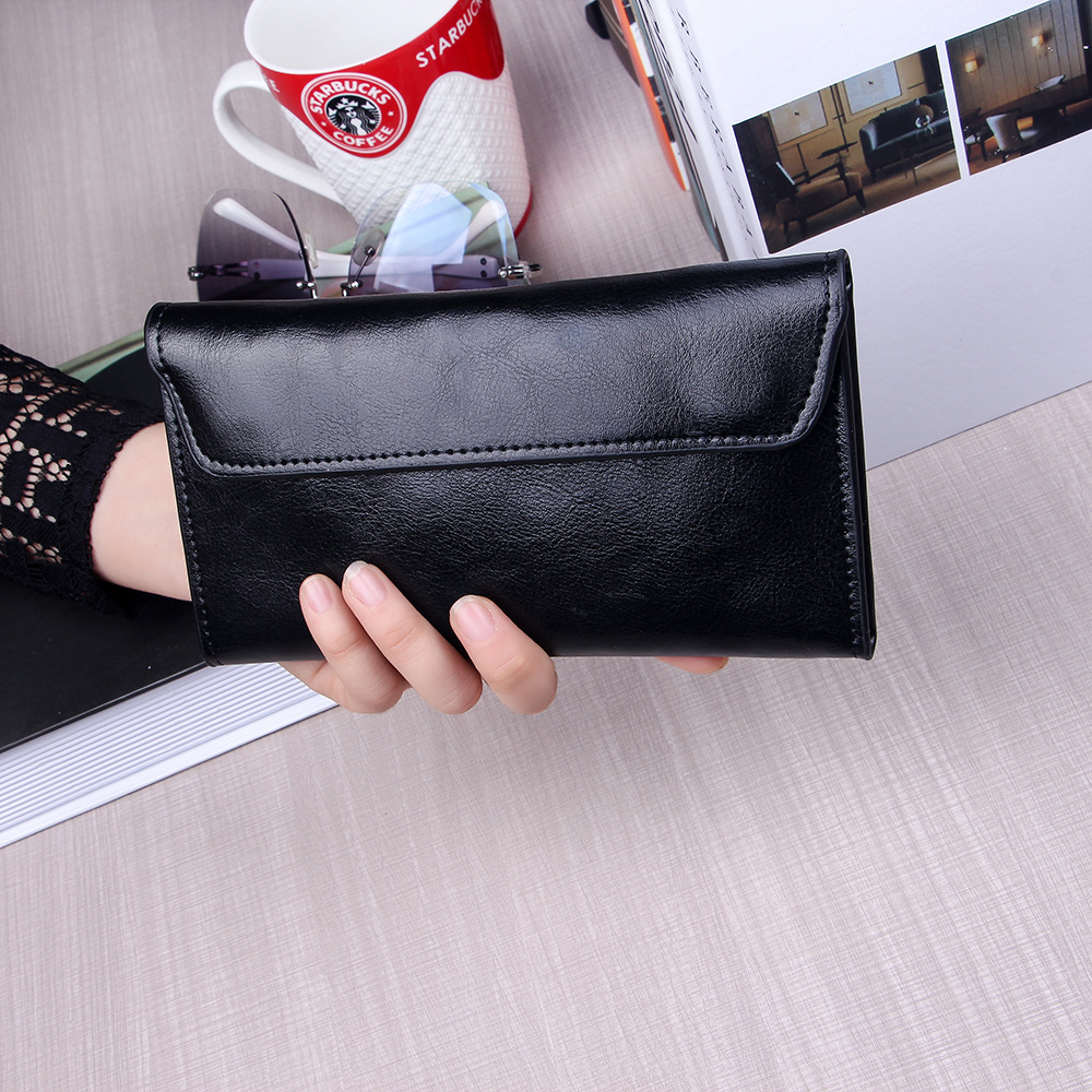 2017 New Women Genuine Leather Wallet Long Thin Purse Cowhide Multiple Cards Holder Clutch Bag Vintage Standard Wallet