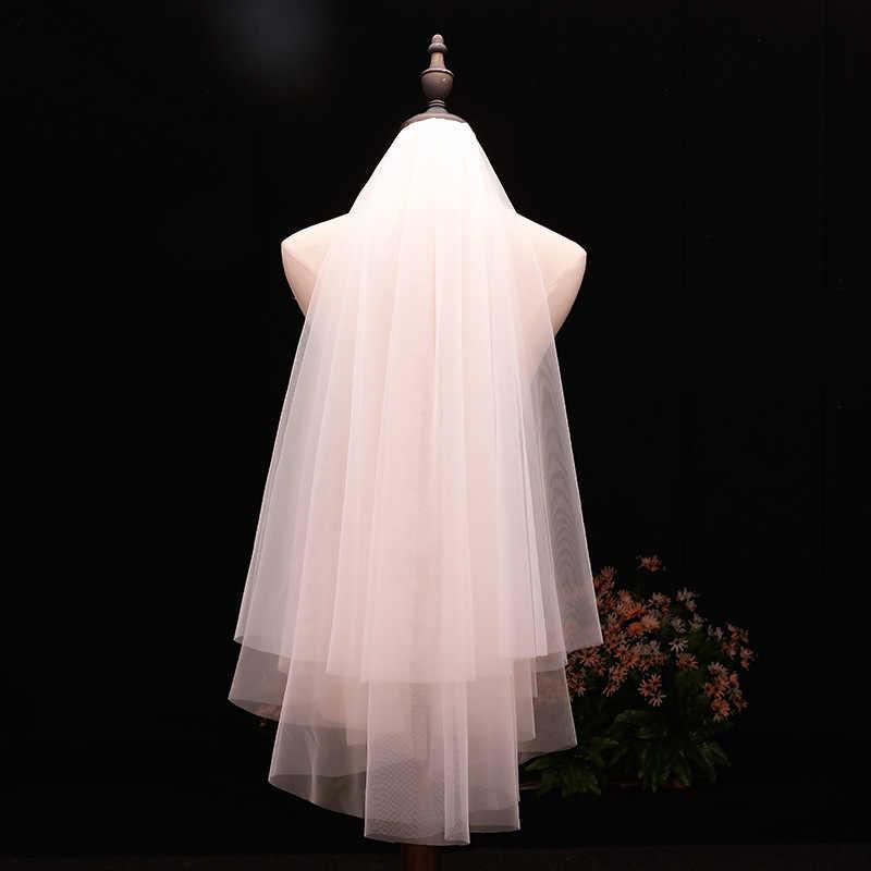 Sederhana 2 Layer Tulle Pernikahan Gaun Kerudung dengan Sisir Pernikahan Aksesoris Vail Pernikahan Kerudung Pengantin Gratis Pengiriman