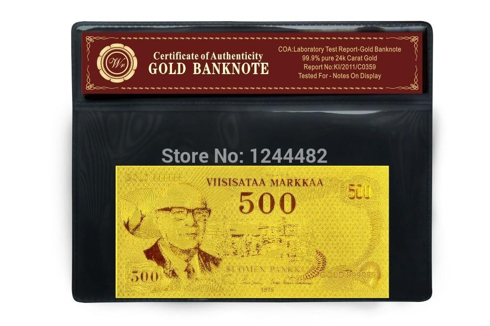 Billete de banco WR Finland 500 Gold Gold Plated Bill con buen regalo - Decoración del hogar - foto 4