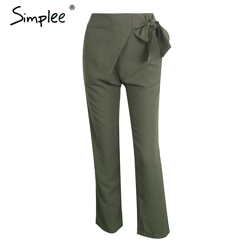 Simplee High waist sashes pencil pants capris Women OL streetwear chic casual pants female 2017 autumn black pants trousers
