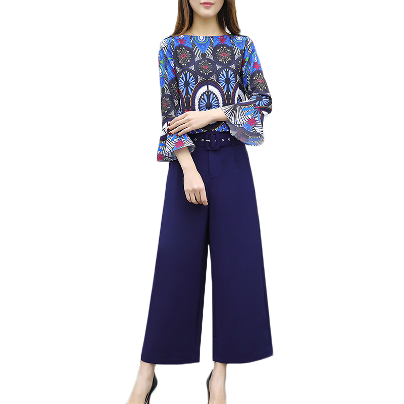 Women spring 2 piece pants sets 2018 Korean trumpet sleeves blouse+trousers wide leg pants womens casual print professional suit