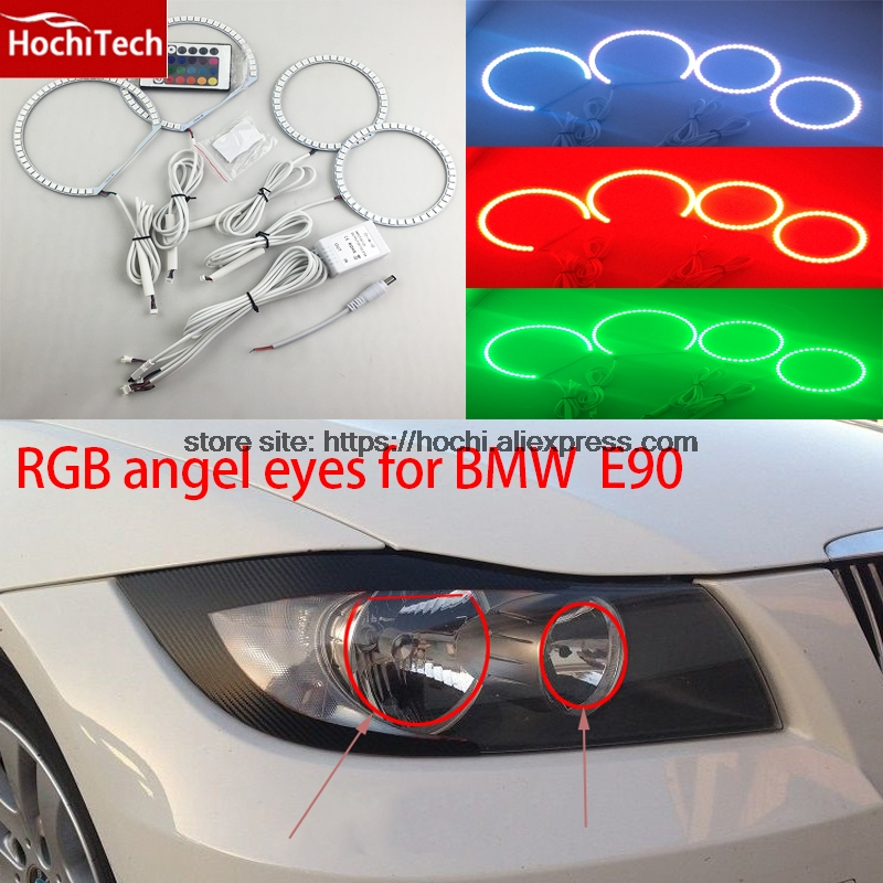 HochiTech Excellent RGB Multi-Color <font><b>LED</b></font> Angel Eyes Halo Rings kit car styling for <font><b>BMW</b></font> 3 Series <font><b>E90</b></font> 2005-2008 Halogen <font><b>headlight</b></font> image