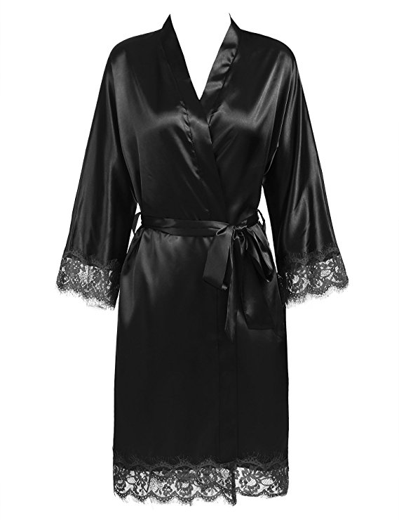 Sexy Ladies' Lace Satin Robe Gown Solid Soft Nightgown Nightwear Kimono Bathrobe Sleepwear Wedding Bride Bridesmaid Robes