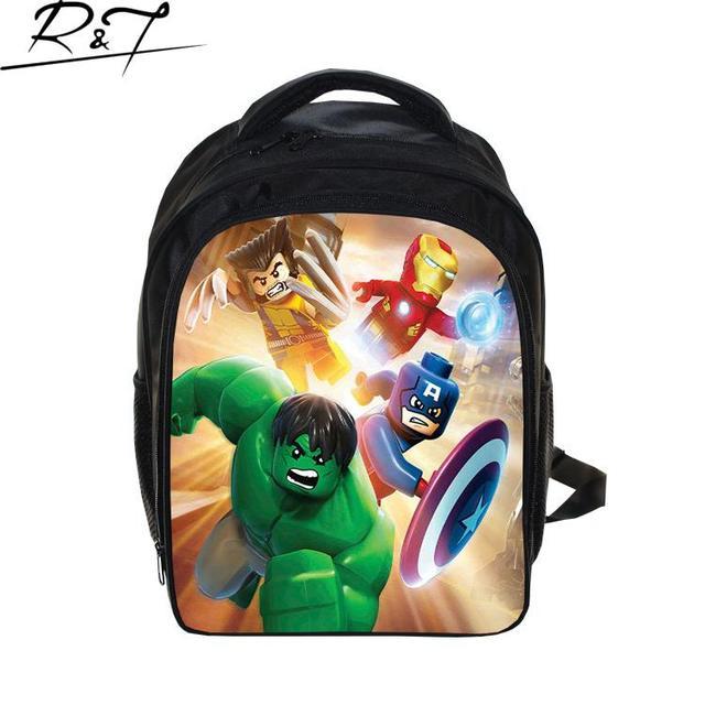 Nueva venta caliente fresca chlidren lego personaje de dibujos animados de impresión mochilas escolares mochila para niños moda niños niñas schoolbag