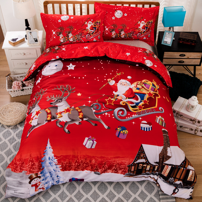 Christmas Bedding Sets. Home. Bedding. Product - Christmas King Size Duvet Cover Set, Merry Christmas Cartoon with Santa Snowman Pines Houses Winter, Decorative 3 Piece Bedding Set with 2 Pillow Shams, Almond Green Eggshell Red, by Ambesonne. Product Image.